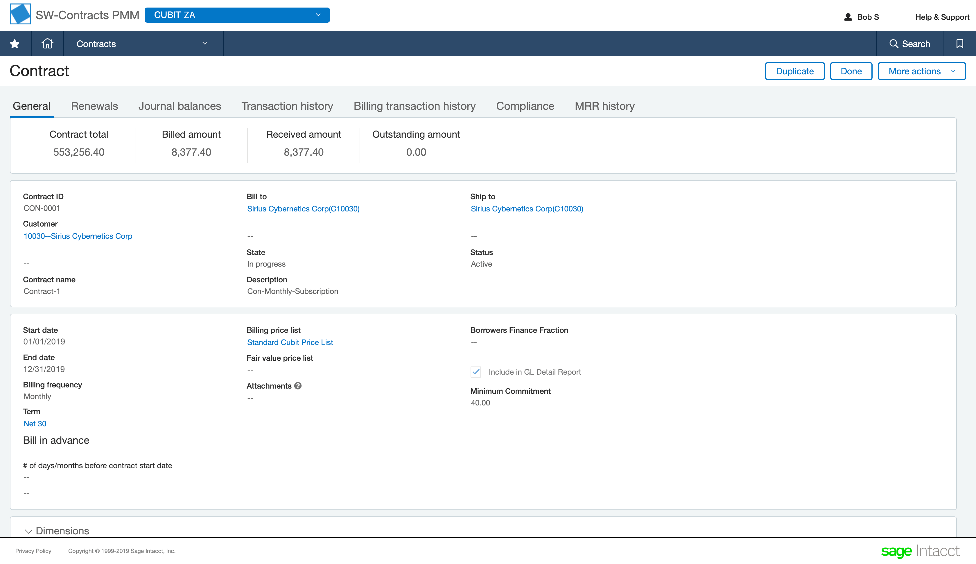 a screenshot of the sage intacct cloud contract revenue management software