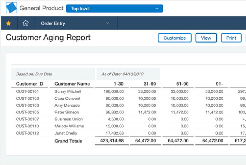 a screenshot of the sage intacct customer aging report
