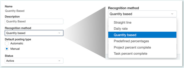 a sample of sage intacct quantity based revenue recognition subscription billing software
