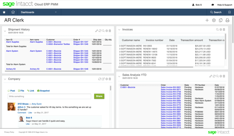 a snapshot of the sage intacct accounts receivable software cloud accounting software dashboard