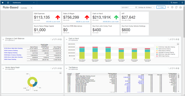 sage intacct for financial services business role based dashboard screenshot