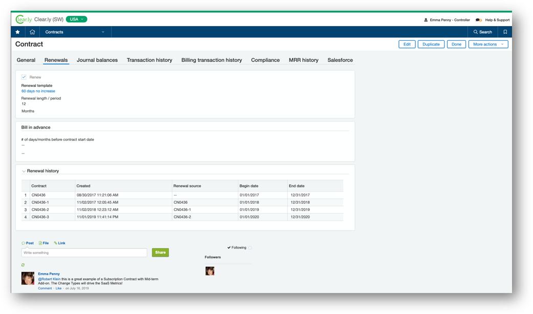 a screenshot of the sage intacct automatic subscription renewal dashboard