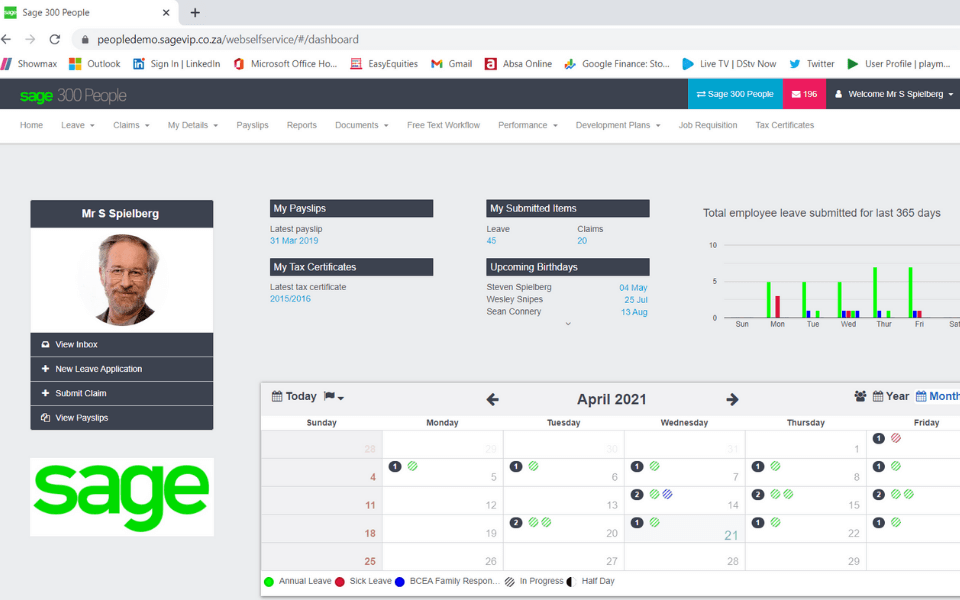 employee and management self service dashboard screenshot on sage 300 people