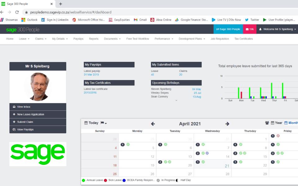 Sage 300 people employee self service dashboard screenshot